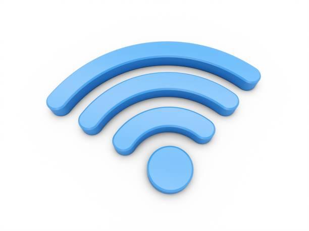 3D Rendering Blue Wifi Wireless Network Symbol isoliert auf weißem Hintergrund – Foto