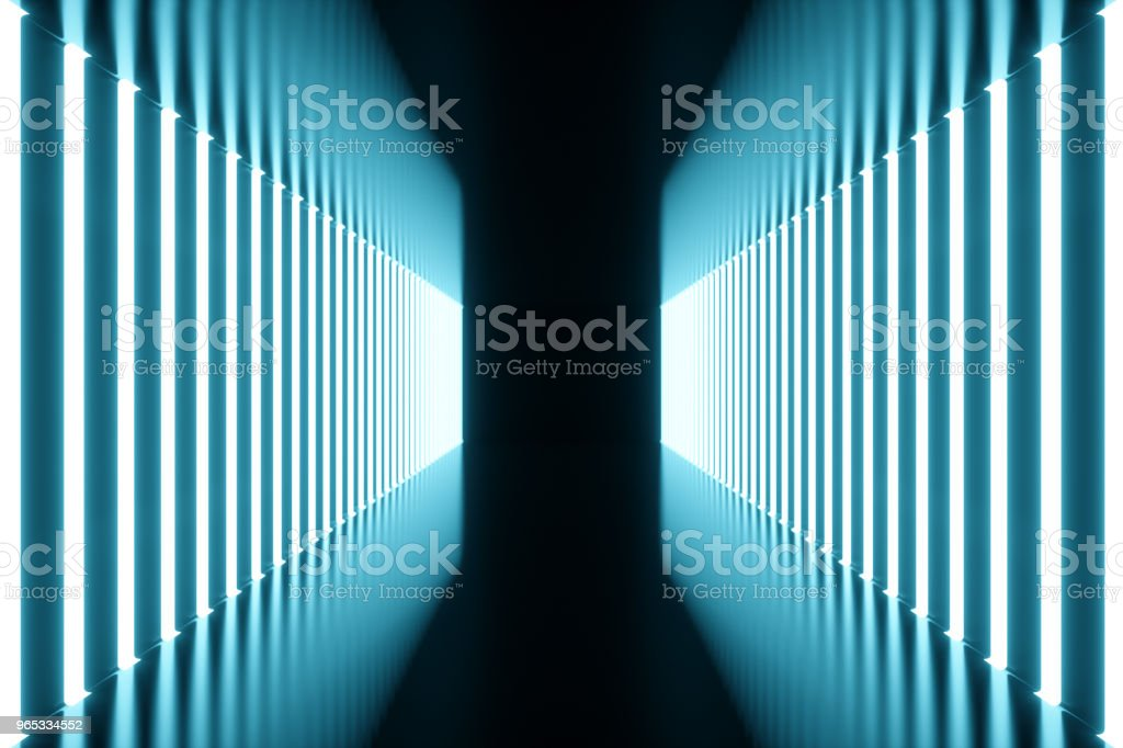 3D rendering blue-tint Illuminated corridor with blue neon light. Elegant futuristic neon light on wall. royalty-free stock photo