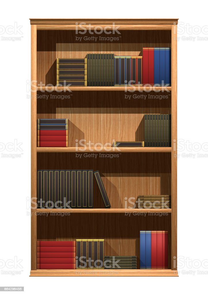 3D rendering bookshelf on white royalty-free stock photo