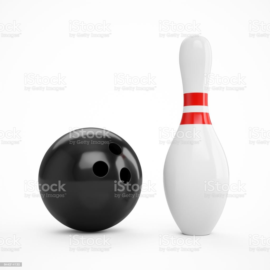 3D rendering bowling ball and pin over a white background.