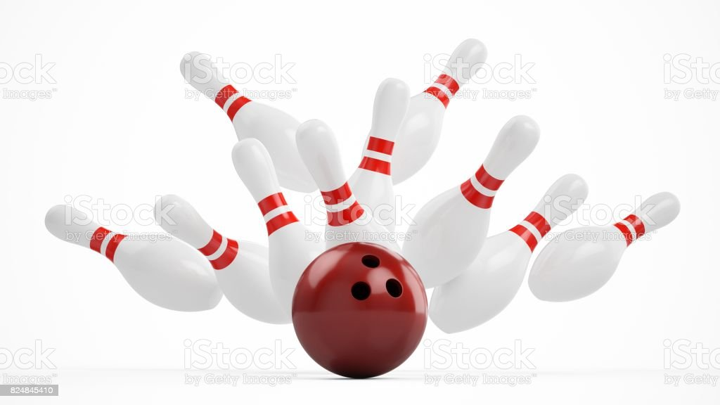 3D rendering Bowling Ball crashing into the pins on white background stock photo