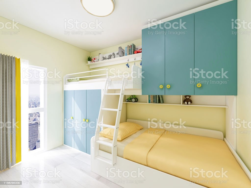 3d Rendering Bright And Bright Childrens Bedroom With Double Bunk Beds Stock Photo Download Image Now Istock
