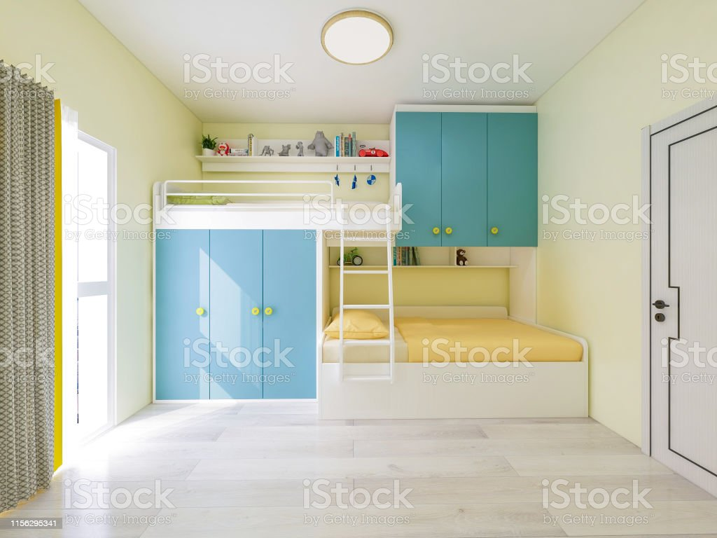 Picture of: 3d Rendering Bright And Bright Childrens Bedroom With Double Bunk Beds Stock Photo Download Image Now Istock