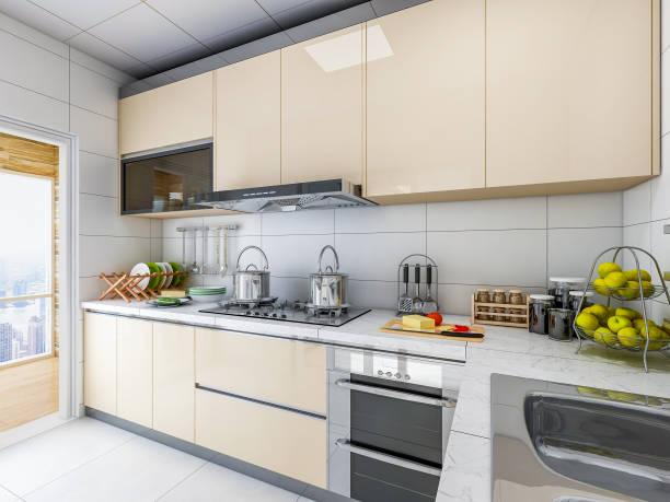 3d-rendering, hell, geräumig und sauber moderne küche design, integrierte s-schrank ist sehr bequem - backofenfenster reinigen stock-fotos und bilder