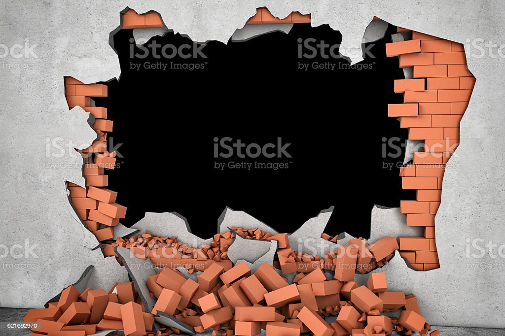 Rendering broken wall with black hole and pile of rusty stock photo