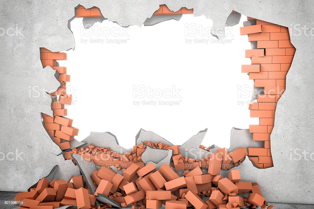 Rendering broken wall with white hole and pile of rusty - foto de stock