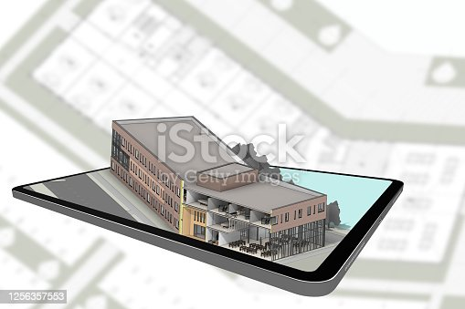 464482634 istock photo 3D rendering building coming out of tablet 1256357553