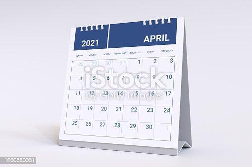 Calendar for April. 2021 Monthly calendar week starts on sunday.