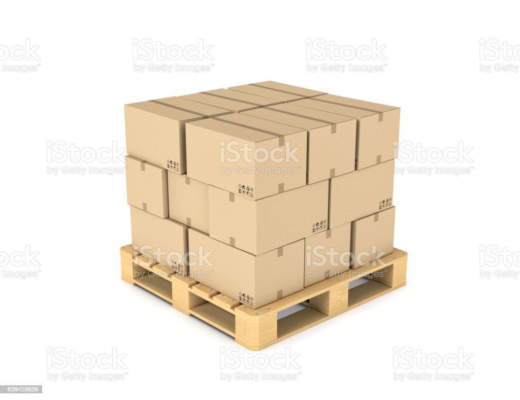 Rendering cardboard boxes on wooden palette - Photo