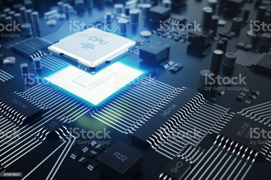 3D rendering Central Computer Processors CPU concept. Electronic engineer of computer technology. Computer board chip circuit cpu core. Hardware concept electronic device motherboard semiconductor - Royalty-free Authority Stock Photo