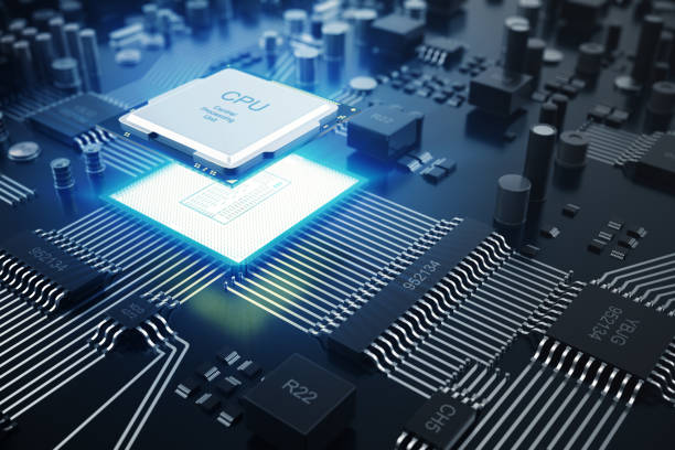 3D rendering Central Computer Processors CPU concept. Electronic engineer of computer technology. Computer board chip circuit cpu core. Hardware concept electronic device motherboard semiconductor stock photo