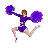 3D rendering cheerleader with pompoms on white