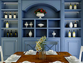 3D rendering, Chinese style dining room design, with dining table and blue wine cabinet