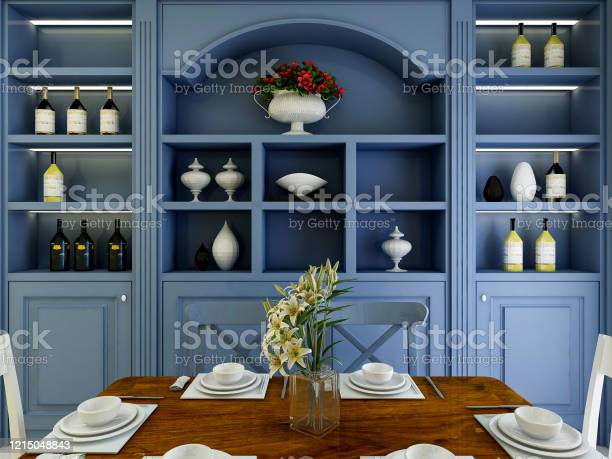 3d Rendering Chinese Style Dining Room Design With Dining Table And Blue Wine Cabinet Stock Photo Download Image Now Istock