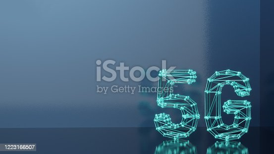 istock 3D Rendering. Circles and Lines connected forming 5G text with copy space 1223166507