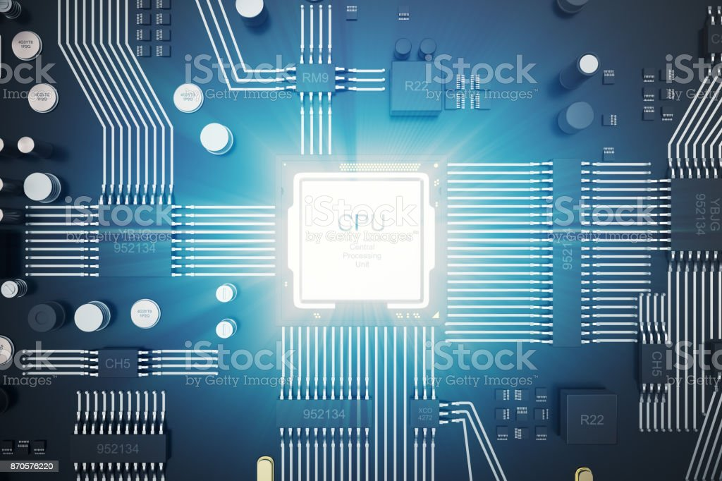 3D rendering Circuit board. Technology background. Central Computer Processors CPU concept. Motherboard digital chip. Tech science EDA background. Integrated communication processor, Information CPU engineering stock photo