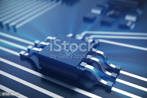 istock 3D rendering Circuit board. Technology background. Central Computer Processors CPU concept. Motherboard digital chip. Tech science EDA background. Integrated communication processor, Information CPU engineering 870576222