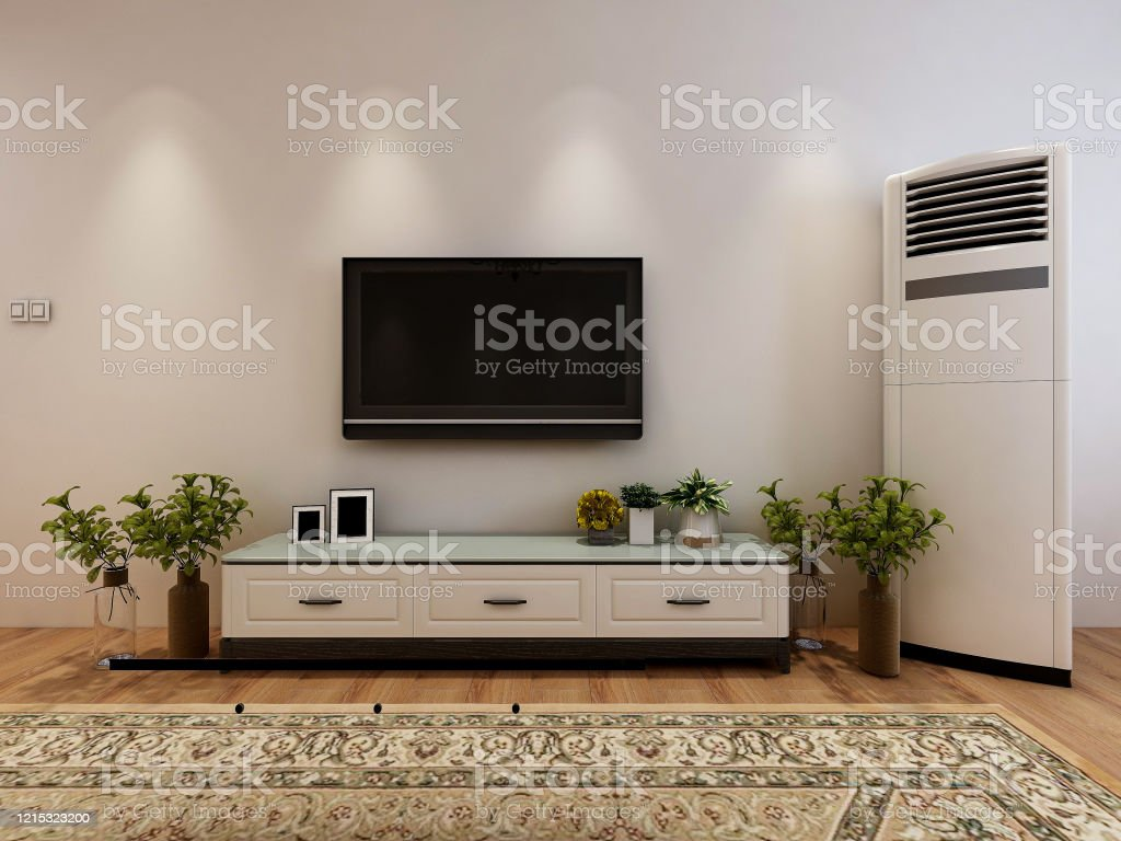 3d Rendering Clean And Tidy Modern Living Room Design Entrance With Shoe Cabinet Sofa Tv Table Leisure Chair And Other Facilities Stock Photo Download Image Now Istock