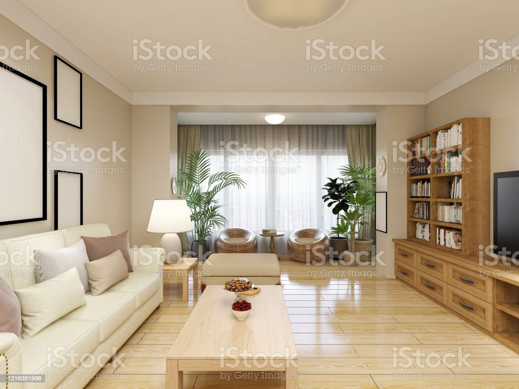 3d Rendering Clean And Tidy Modern Living Room Design With Shoe Cabinets Sofas Tvs Tables Lounge Chairs Piano And Other Facilities In The Door Stock Photo Download Image Now Istock