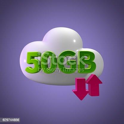 istock 3D Rendering Cloud Data Upload Download illustration 50 GB Capacity 629744656