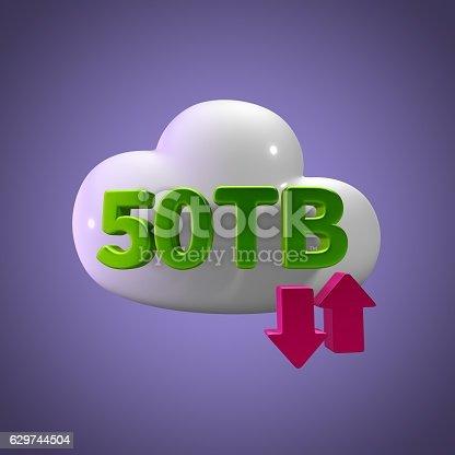 istock 3D Rendering Cloud Data Upload Download illustration 50 TB Capacity 629744504