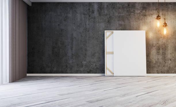 3D renderização, concreto, vazio, chão, velho, branco, poltrona, bulbos, grande, luz, moderno, parquet, quarto, gasto, parede, janela - foto de acervo