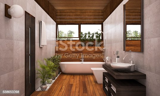 istock 3D rendering contemporary wood bathroom with plants 538653268