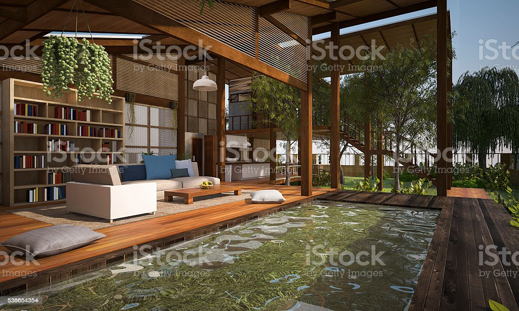 3D rendering contemporary wood living zone with pond stock photo