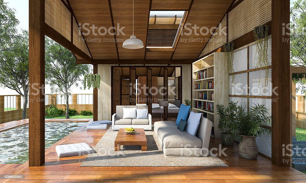3D rendering contemporary wood living zone with terrace stock photo