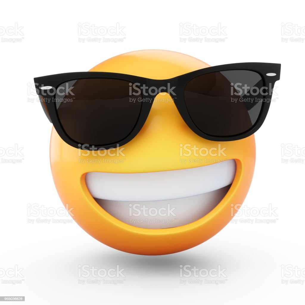 3D Rendering cool emoji with sunglass isolated on white background stock photo