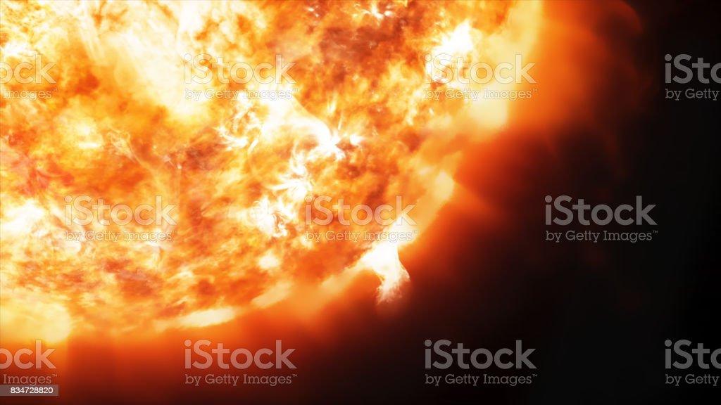 Render 3D coronario emisiones y prominencias en el sol en el espacio foto de stock libre de derechos