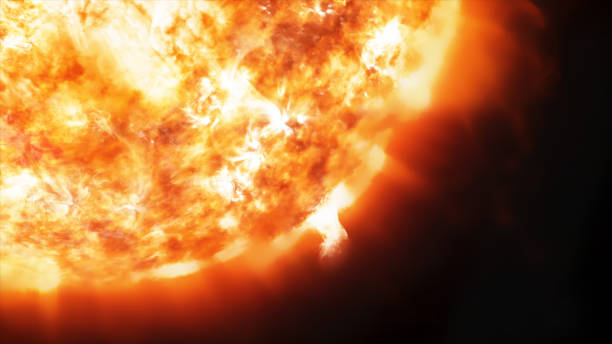 3d rendering coronary emissions and prominences on the sun in space - flare foto e immagini stock