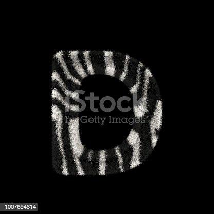 491530224istockphoto 3D Rendering Creative Illustration Zebra Print Furry Letter D 1007694614