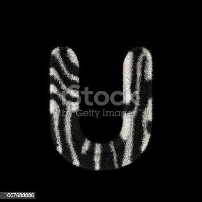 491530224istockphoto 3D Rendering Creative Illustration Zebra Print Furry Letter U 1007688886