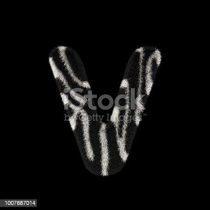 491530224istockphoto 3D Rendering Creative Illustration Zebra Print Furry Letter V 1007687014