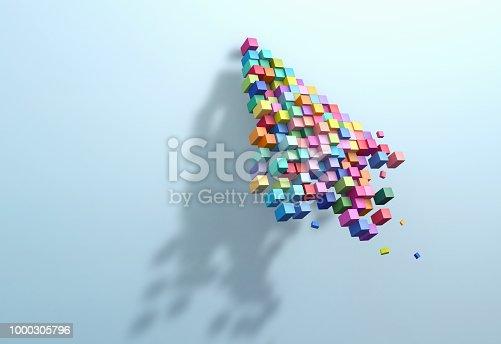 istock 3D rendering crumbling cursor colorful pixel 1000305796