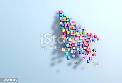 istock 3D rendering crumbling cursor colorful pixel 1000668952