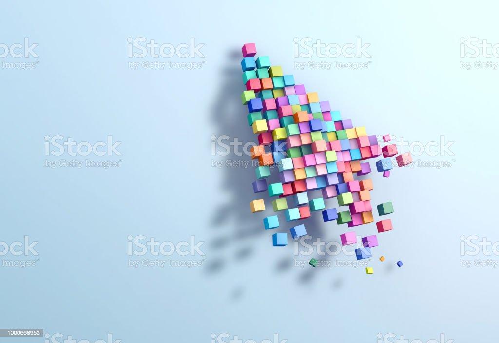 3D rendering crumbling cursor colorful pixel - foto stock