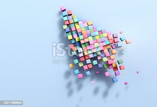 istock 3D rendering crumbling cursor colorful pixel 1001486894