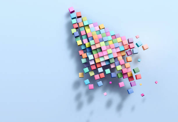 3d rendering crumbling cursor colorful pixel - cursor stock pictures, royalty-free photos & images