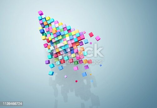 istock 3D rendering crumbling cursor colorful pixel 1139466724