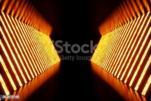 962326404istockphoto 3D rendering dark Illuminated corridor of red neon light. Elegant futuristic neon light on wall. 962326186
