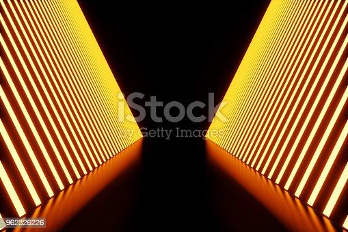 962326404istockphoto 3D rendering dark Illuminated corridor of red neon light. Elegant futuristic neon light on wall. 962326226