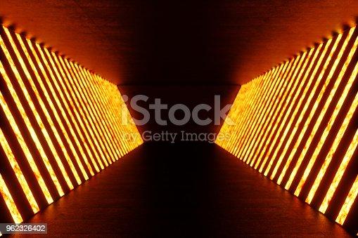 962326404istockphoto 3D rendering dark Illuminated corridor of red neon light. Elegant futuristic neon light on wall. 962326402