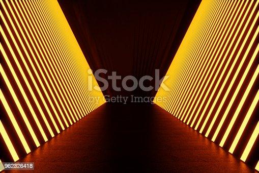 962326404istockphoto 3D rendering dark Illuminated corridor of red neon light. Elegant futuristic neon light on wall. 962326418