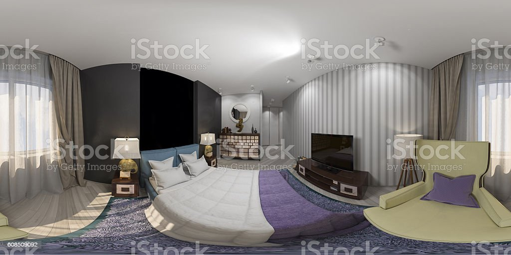 rendering design interior spherical 360 degrees, seamless panorama of bedroom stock photo