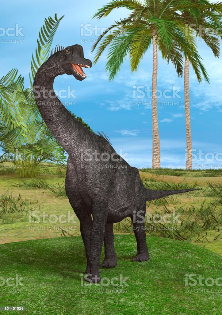 3D rendering dinosaur Brachiosaurus stock photo
