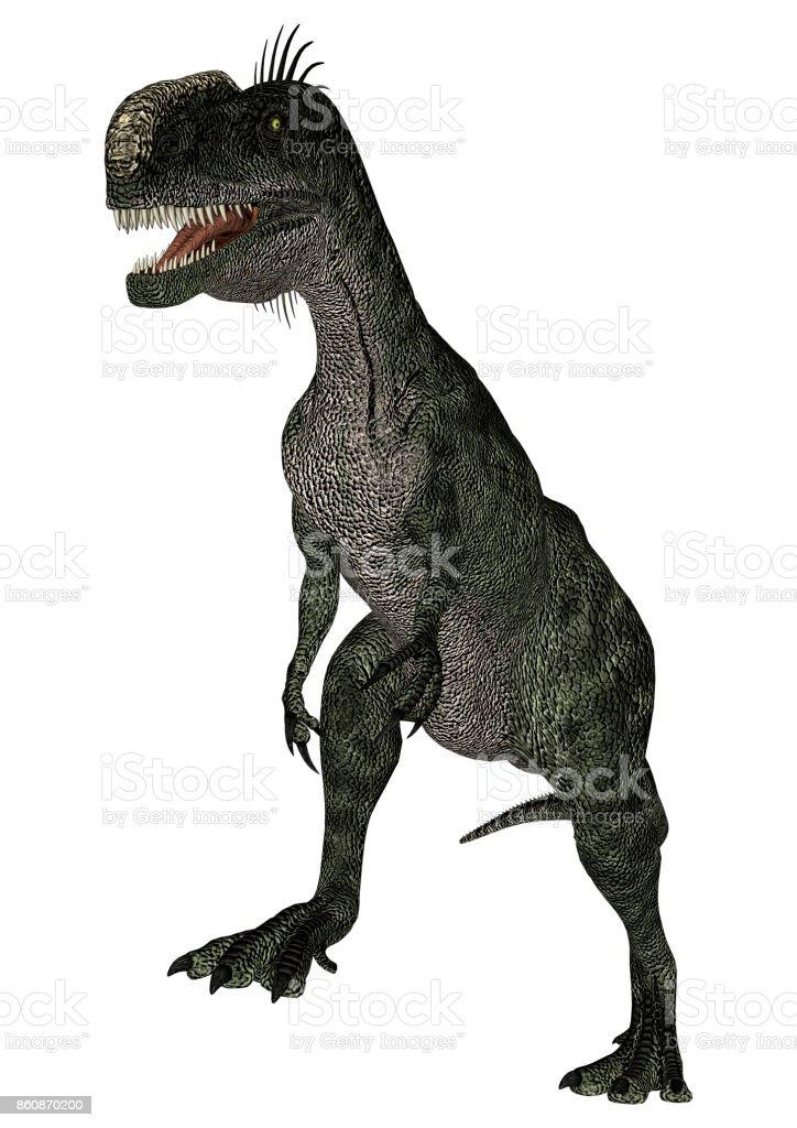 3D rendering dinosaur Monolophosaurus on white stock photo