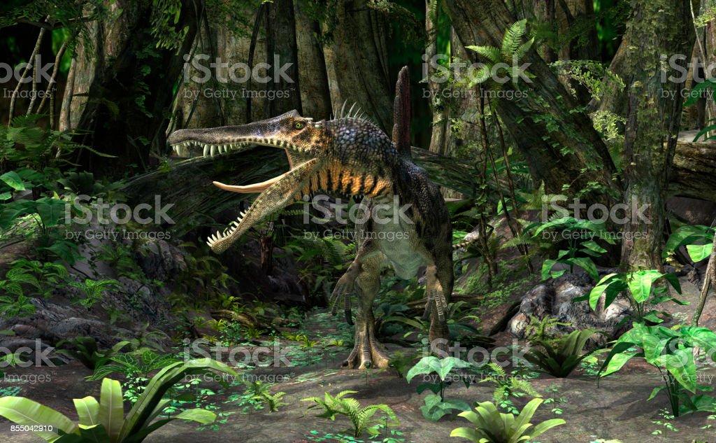 3D rendering dinosaur Spinosaurus stock photo