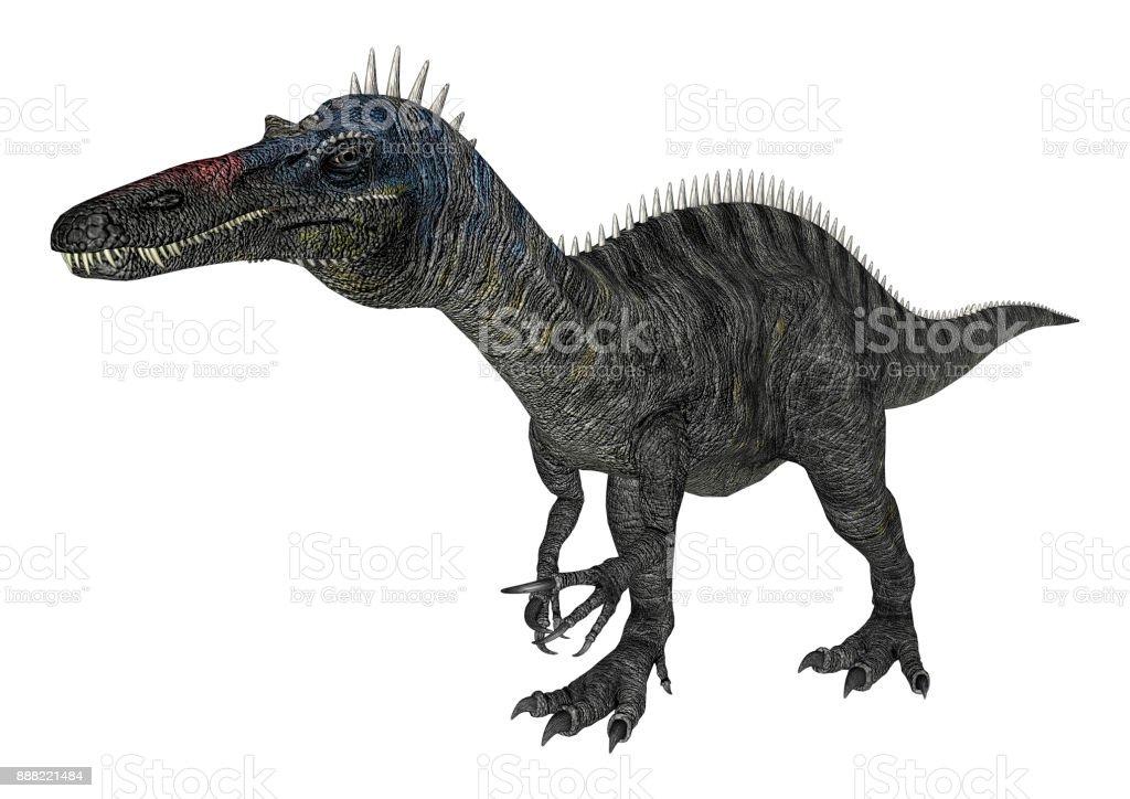 3D rendering dinosaur Suchomimus on white stock photo